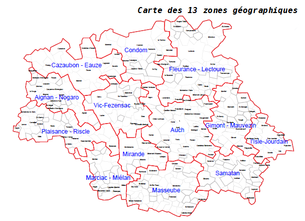 13 zones géographiques