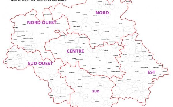 Les 6 zones titulaires de secteur