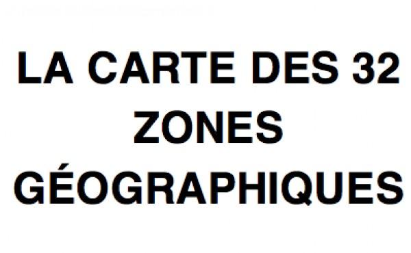 Les 32 zones géographiques ou regroupements de communes - 2017